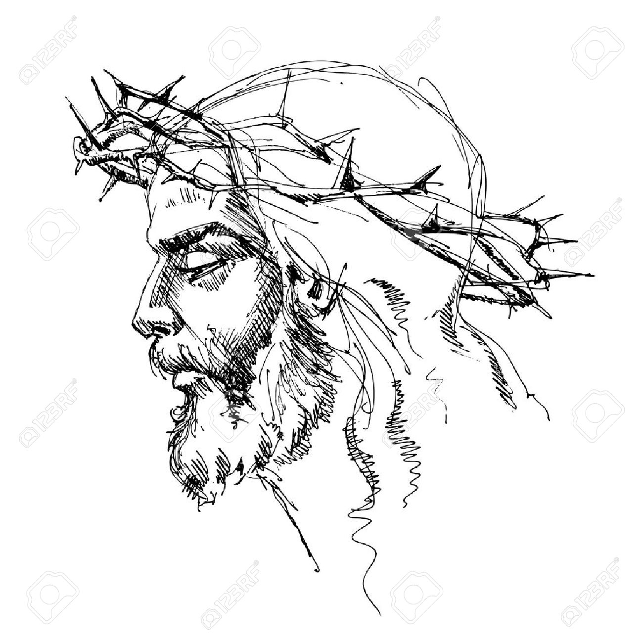 1300x1300 Jesus Christ With Crown Of Thorns Royalty Free Cliparts Vectors