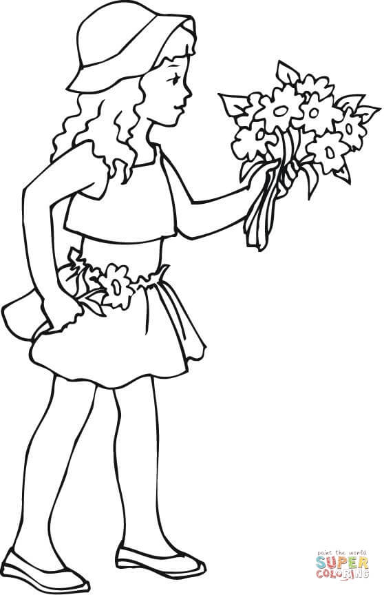 558x864 a girl holding a bouquet of flowers coloring page free printable - Coloring Sheets For Girls 2