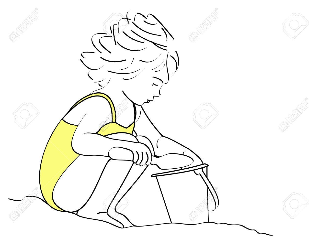 1300x974 A Line Drawing Of A Small Girl Shoveling Sand In Her Bucket