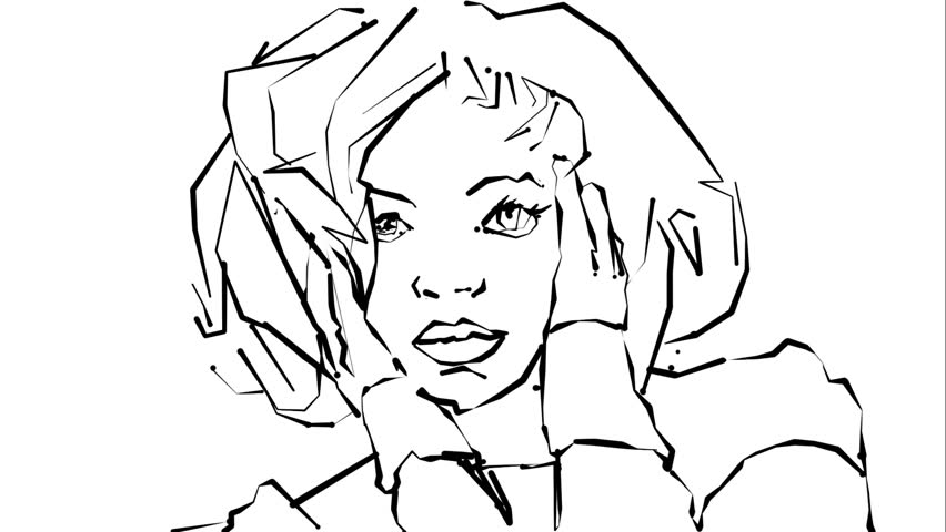 852x480 Sketch Of A Girl. Loose Line Drawing With A Colour Wash Of A Girl