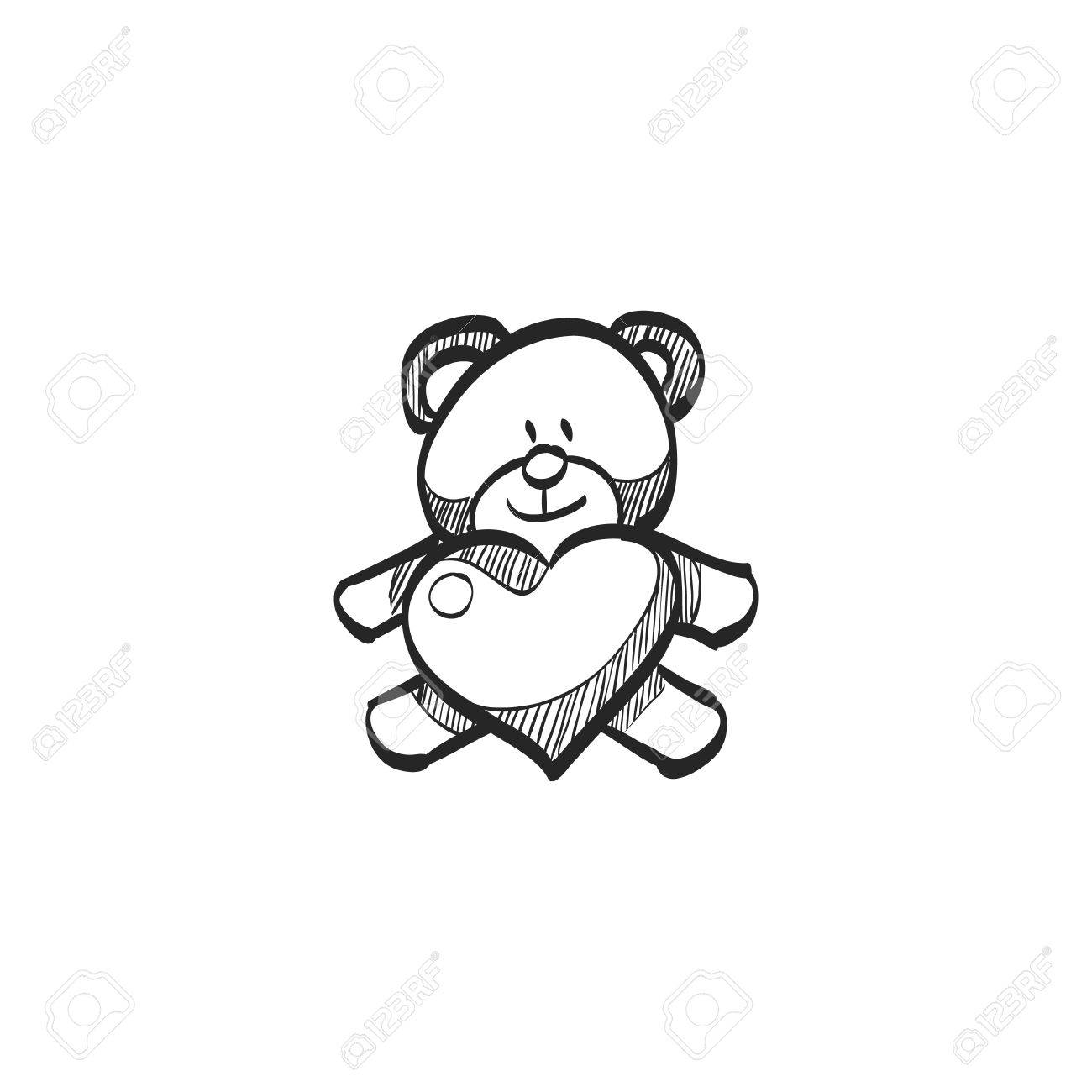 1300x1300 Teddy Holding Heart Shape Icon In Doodle Sketch Lines. Valentine