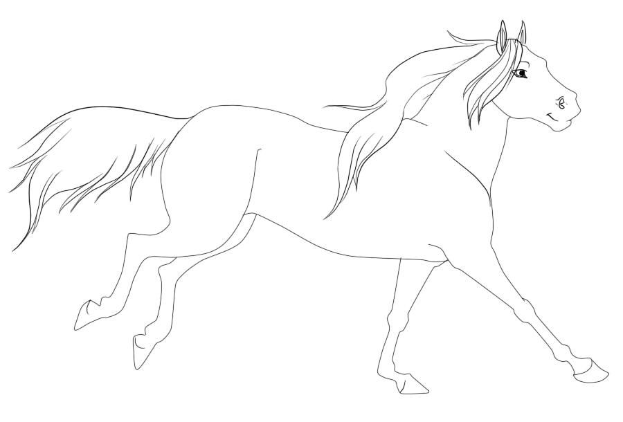 900x610 Running Horse Line Art By Diamond Mint