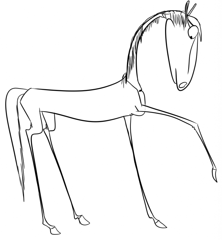945x1024 Simple Line Drawing Of A Horse Realistic Colored Pencil Drawing