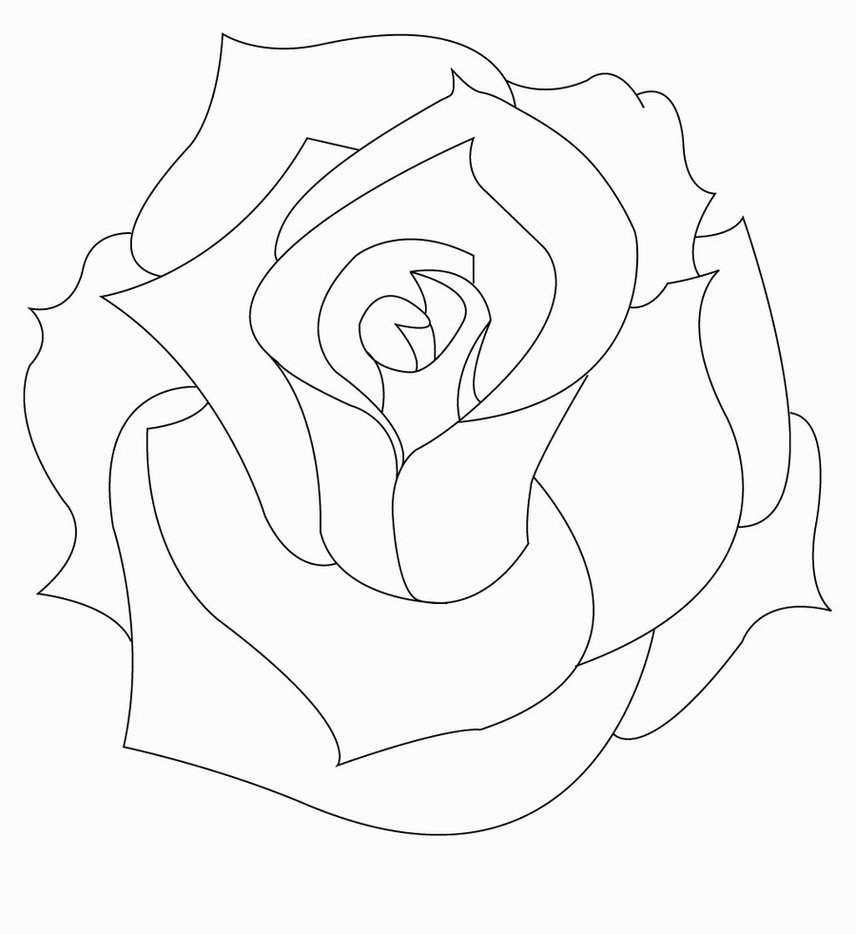 Line Drawing Of A Rose At Free For Personal Use Flower Diagram Simple Bud Stock Vector 856x934 Outline