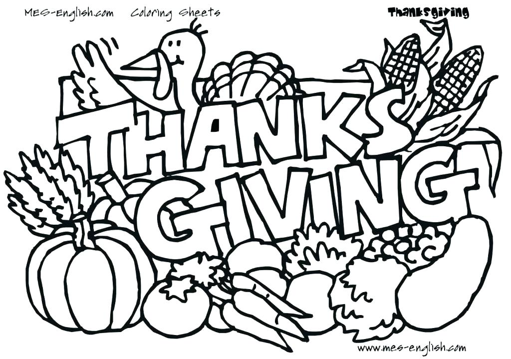 1024x719 Thanksgiving Day Coloring Pages Ndreds Of For Kids Line Drawings