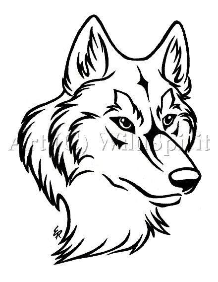 Line Drawing Of A Wolf