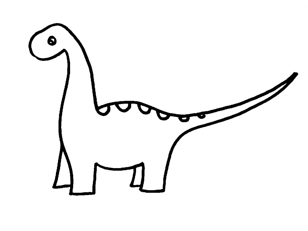 1024x768 Simple Drawing Of A Dinosaur Dinosaur Line Drawing Clipartsco