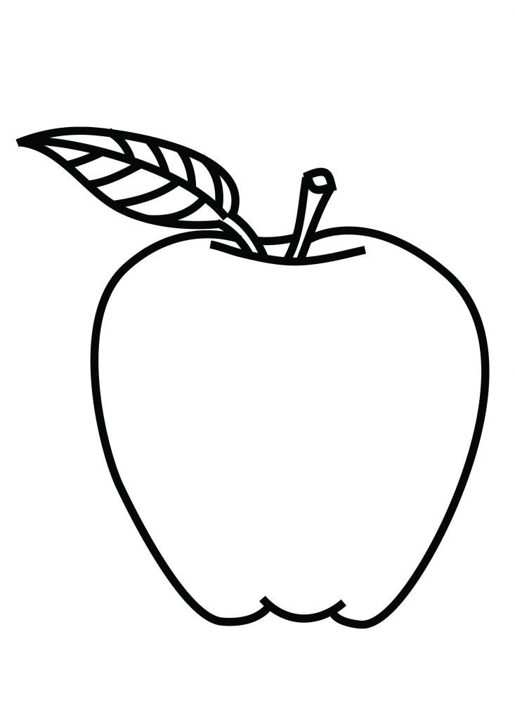 Line drawing of apple at free for for Apple coloring pages