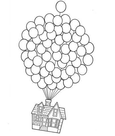 406x480 Disney's Up House On Balloons Coloring Page