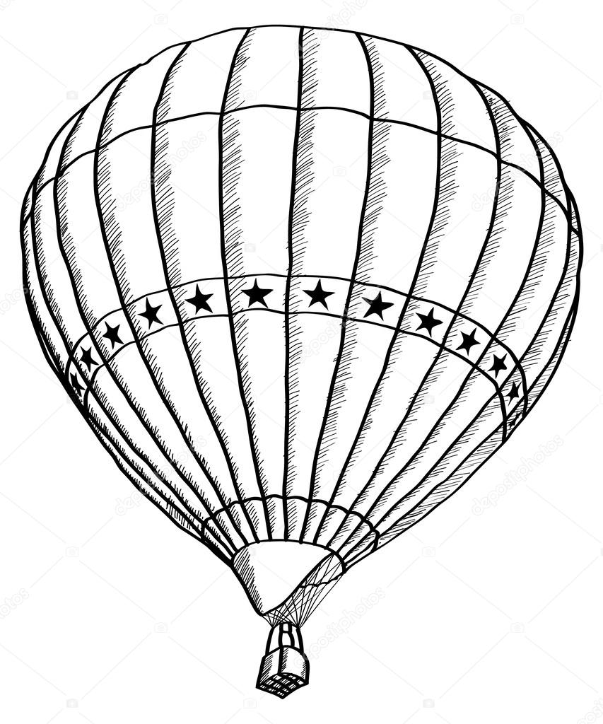 853x1024 Doodle Of Hot Air Balloon Vector Sketch Up Line, Eps 10. Stock