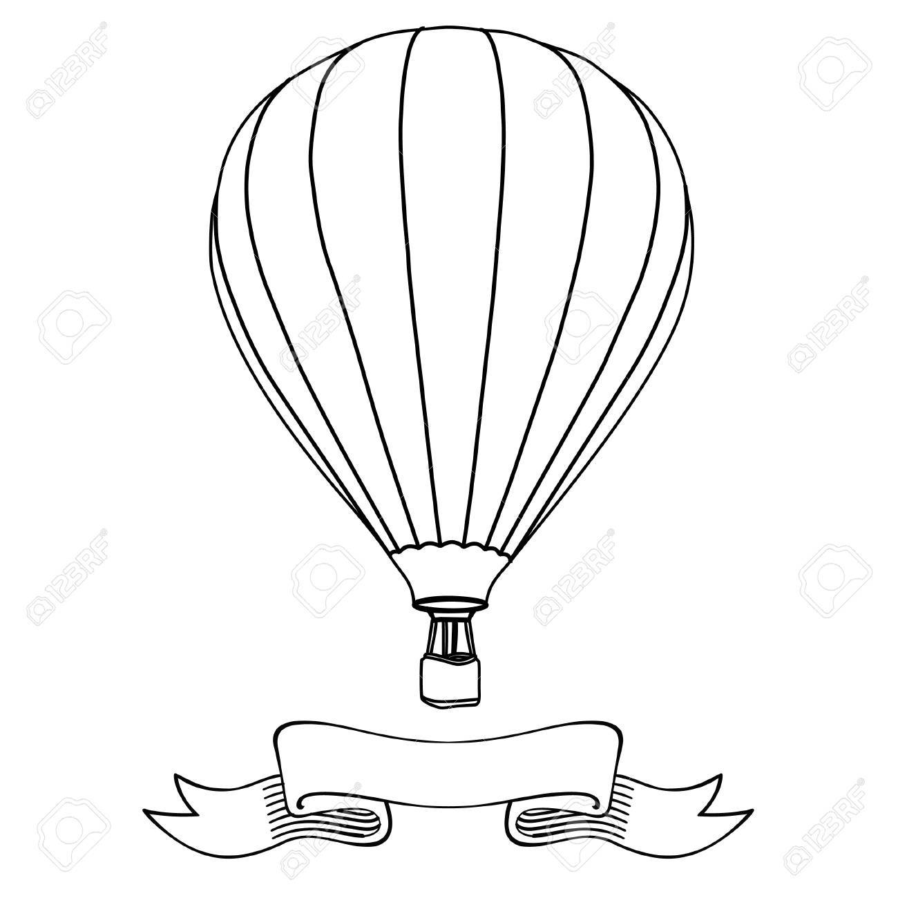 1300x1300 Hot Air Balloon In The Sky With Message On Banner Vector