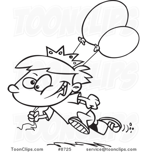 581x600 Cartoon Black And White Line Drawing Of A Birthday Boy Running