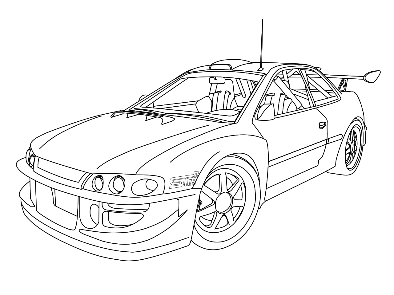1280x960 Car Drawings Outline
