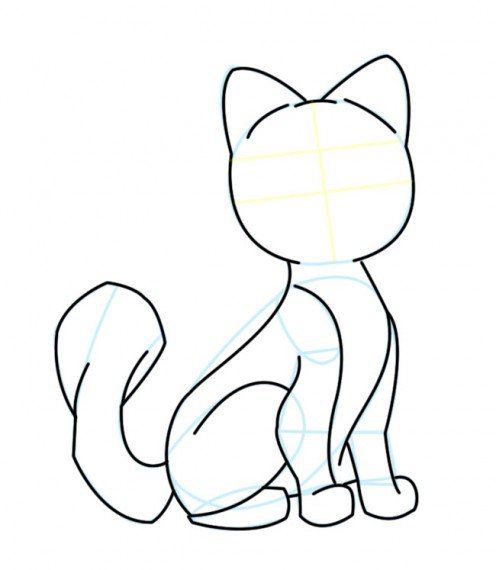 496x570 Drawing A Cartoon Cat Feltmagnet