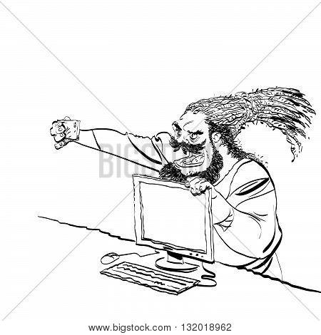 450x470 Brutal Bearded Man Selfie Line Art Vector Amp Photo Bigstock