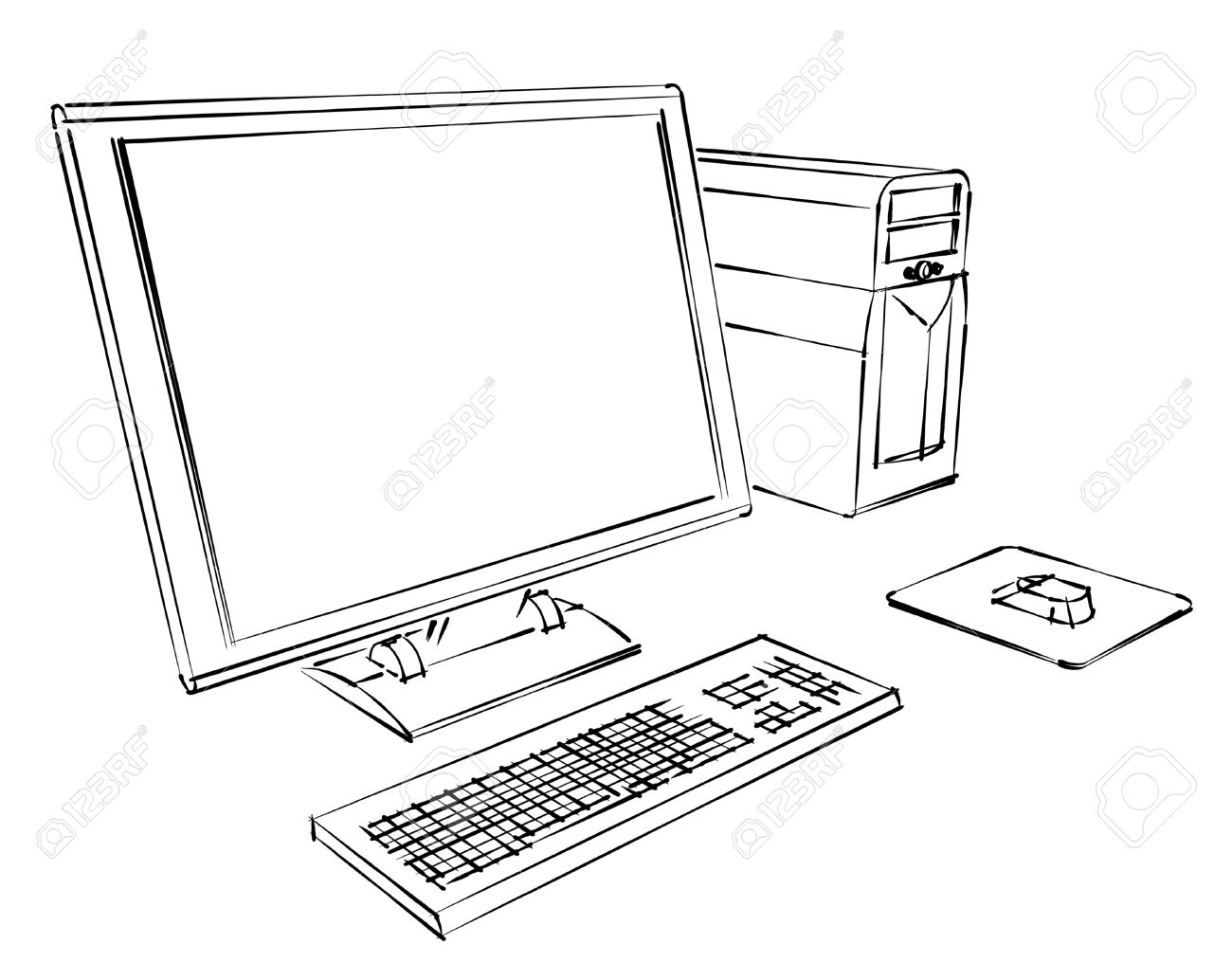 1300x1034 Desktop Computer Abstract Sketch Stock Photo, Picture And Royalty