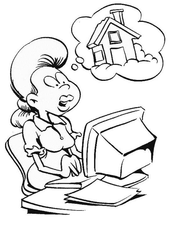 600x783 Girl Drawing A House With Computer Coloring Page Coloring Sun