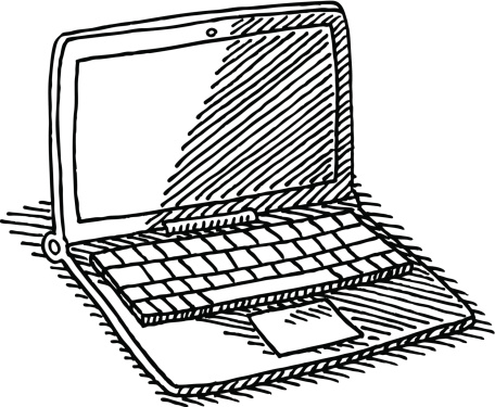 456x375 Hand Drawn Vector Drawing Of An Office Desk With A Computer