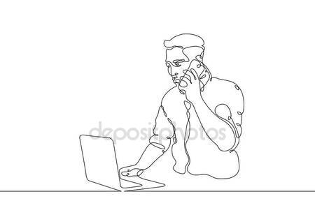 450x321 Continuous Line Drawing Man Sitting