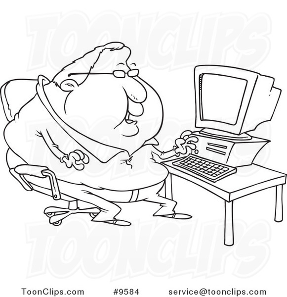 581x600 Cartoon Black And White Line Drawing Of A Fat Computer Potato Guy