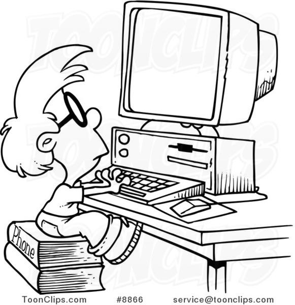 581x600 Cartoon Blacknd White Line Drawing Of Smart Boy Using