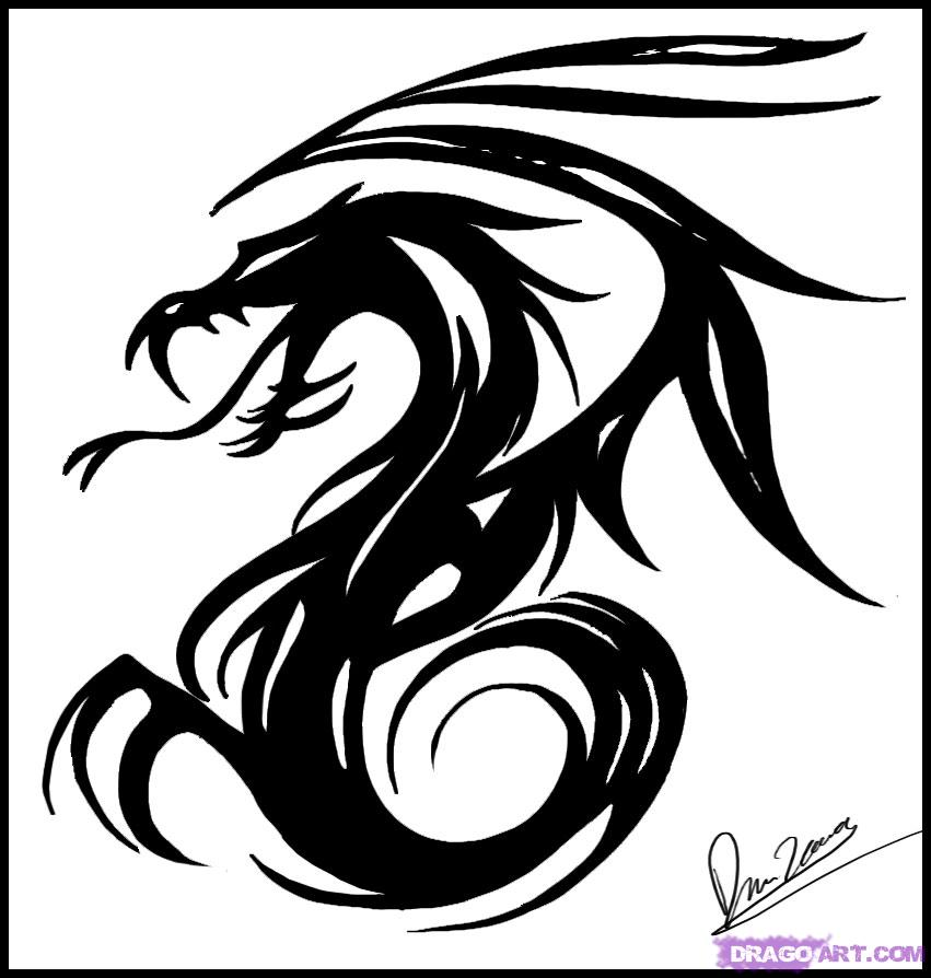 851x894 How To Draw Tribal Dragon Art, Step By Step, Tribal Art, Pop