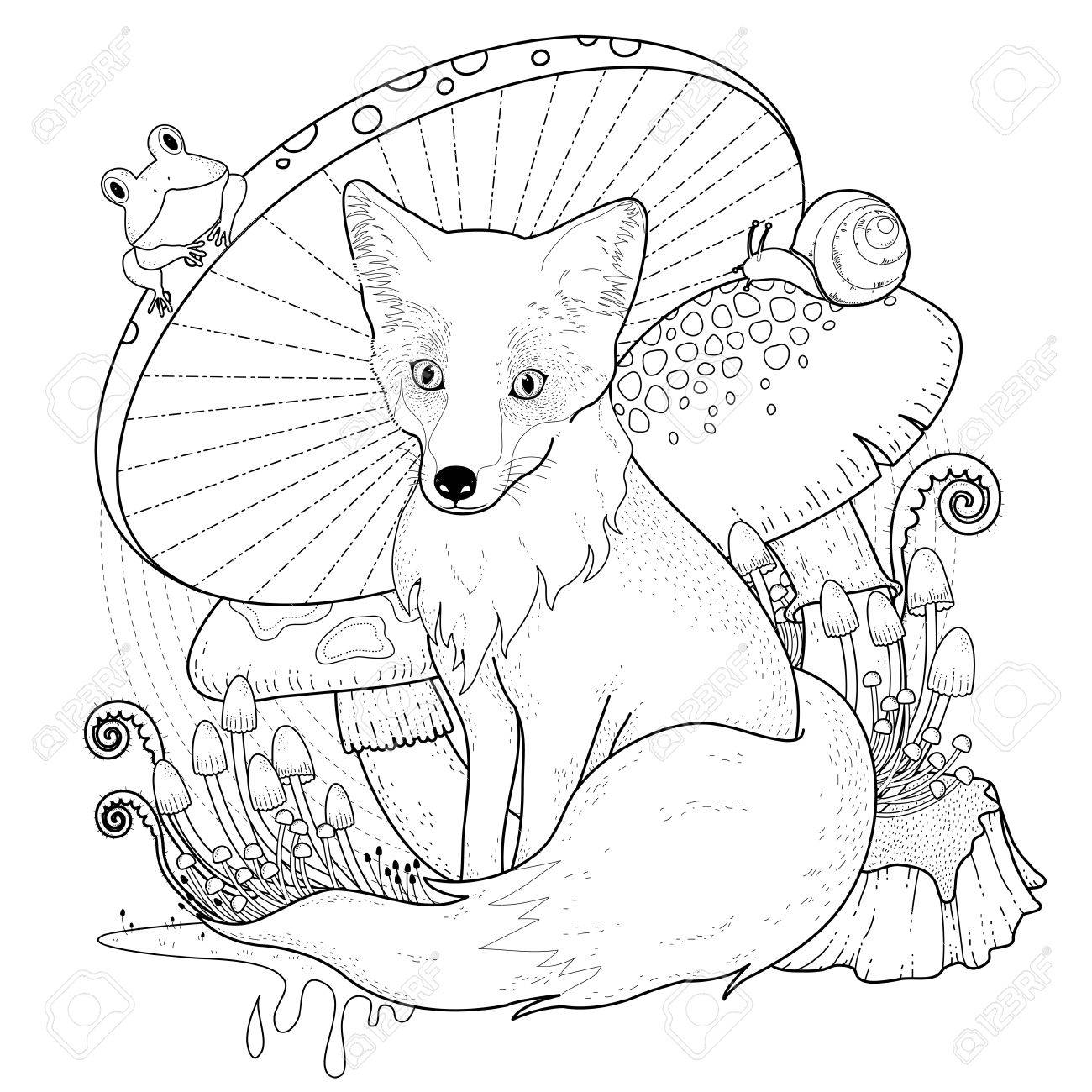 1300x1300 Adorable Fox Coloring Page With Mushrooms In Exquisite Line