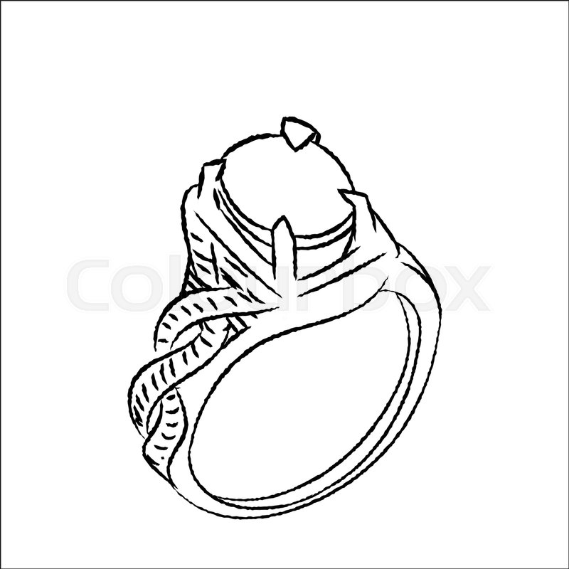 800x800 Hand Drawn Sketch Of Ring Isolated, Black And White Cartoon Vector