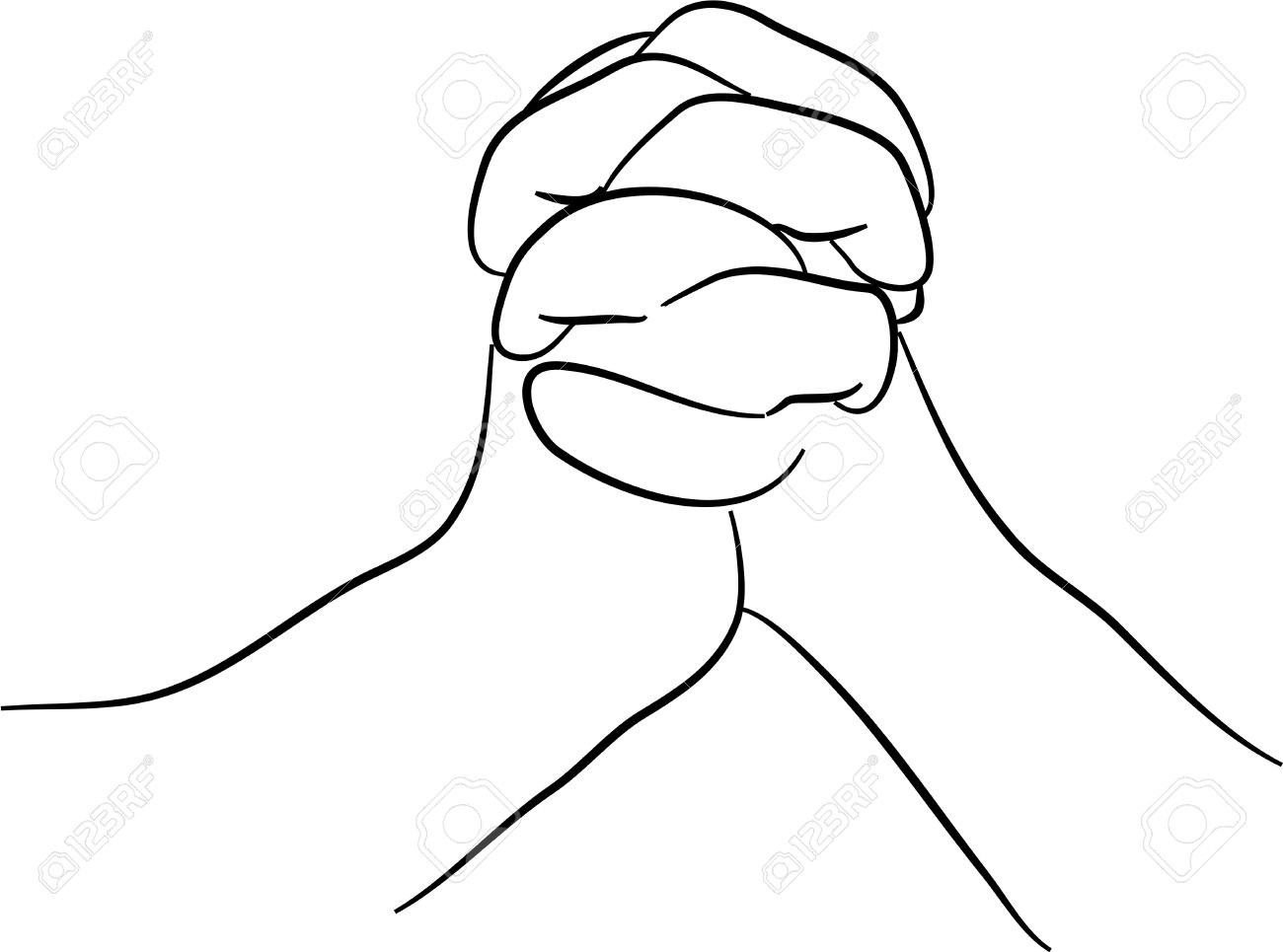 1300x965 A Simple Line Drawing Of Two Hands Clasped Together Stock Photo