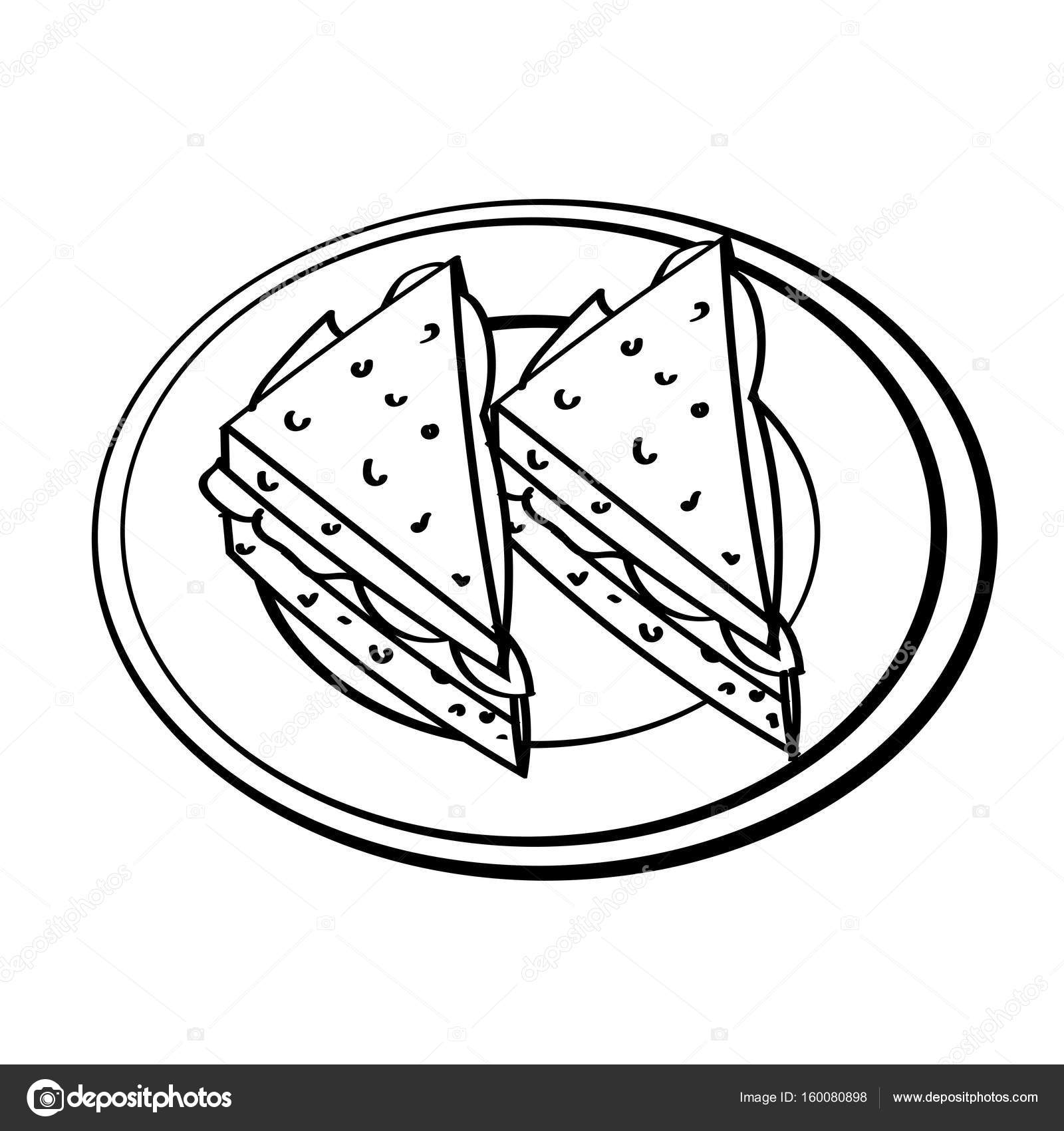 1600x1700 Line Drawing Of Sandwich Simple Line Vector Stock Vector