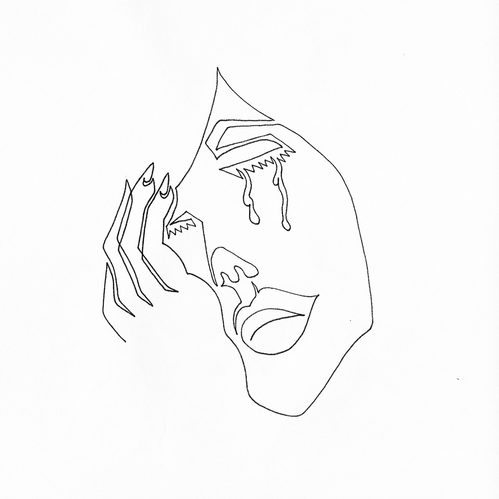 1024x1024 A Single Line Drawing Of A Female Crying Into Her Hand