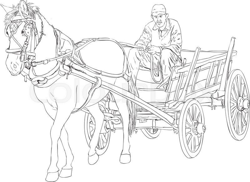 800x583 Horse And Horse Cart Sketch Stock Vector Colourbox