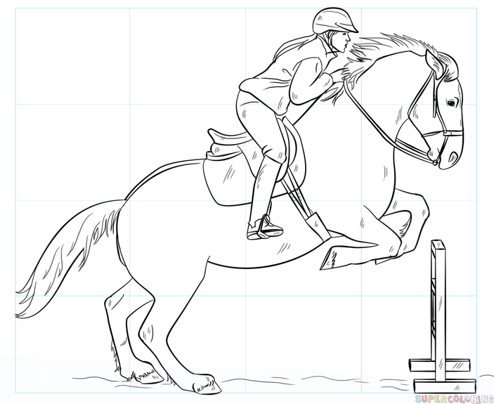 703x575 How To Draw A Jumping Horse Step By Step Drawing Tutorials
