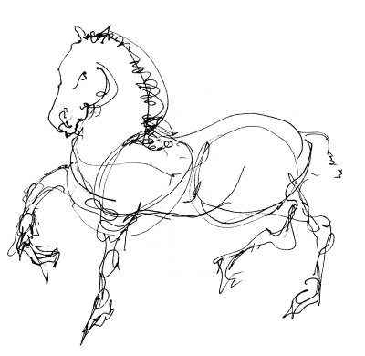 400x390 Horse Line Drawing