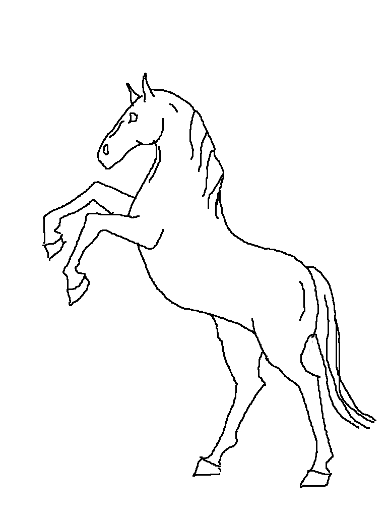 768x1029 Easy to draw horses Rearing Horse Line Drawing By