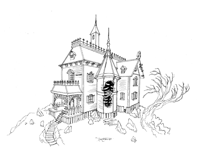 675x518 Haunted House 02 By Rc Draws