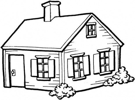 465x346 House Clipart Line Drawing