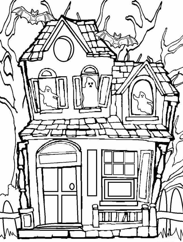644x850 Printable Haunted House Coloring Pages Coloring Me