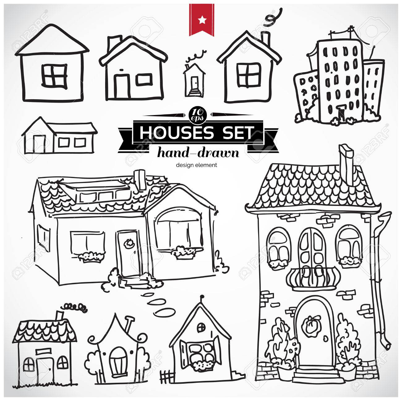 1300x1297 Sketch Set Of Houses In Doodle Style Royalty Free Cliparts