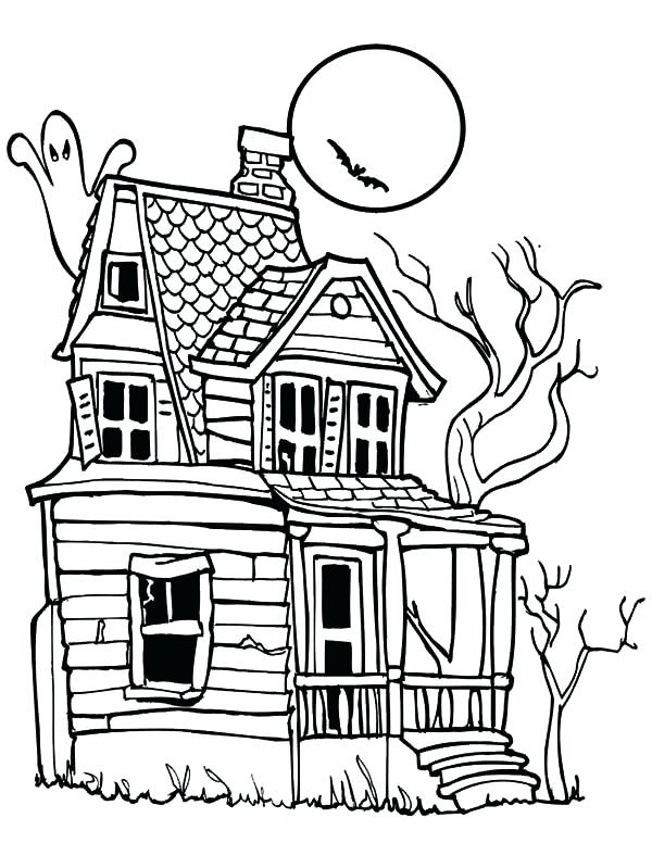 600x776 Haunted House Coloring Page Murs