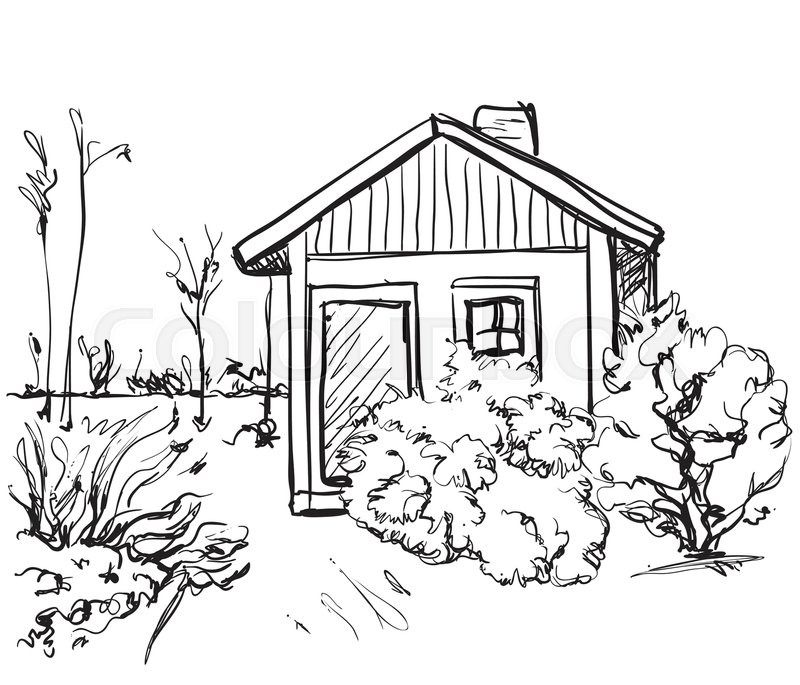 800x685 Cartoon Hand Drawing Houses. Landscape Sketch. Monochrome Stock
