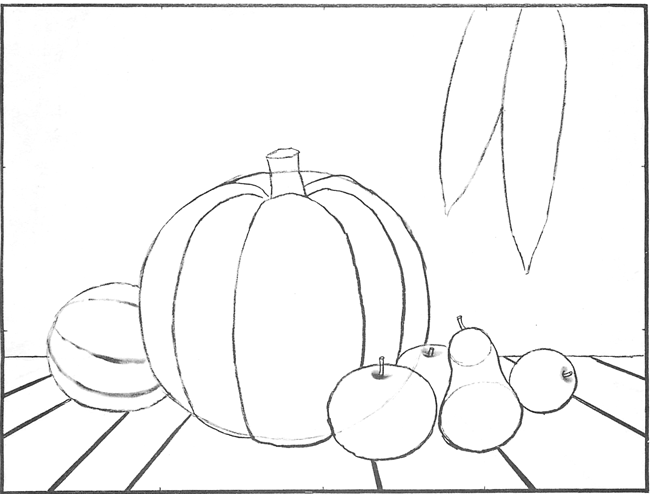 650x494 How To Draw An Autumn Still Life Harvest Scene For Thanksgiving