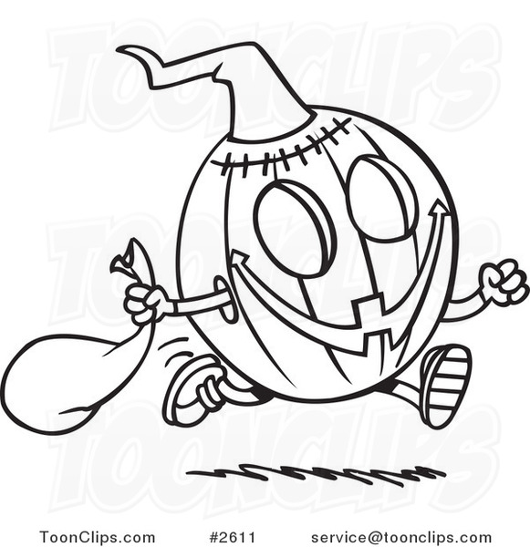 581x600 Cartoon Black And White Line Drawing Of A Running Halloween