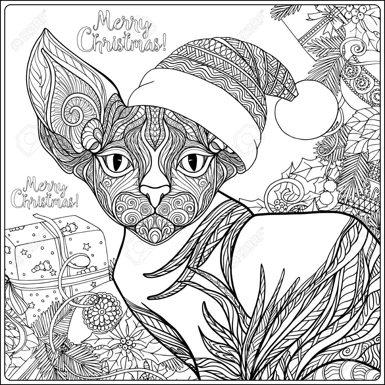 1300x1300 Decorative Patterned Cat In The Hat Of Santa Claus On A Background