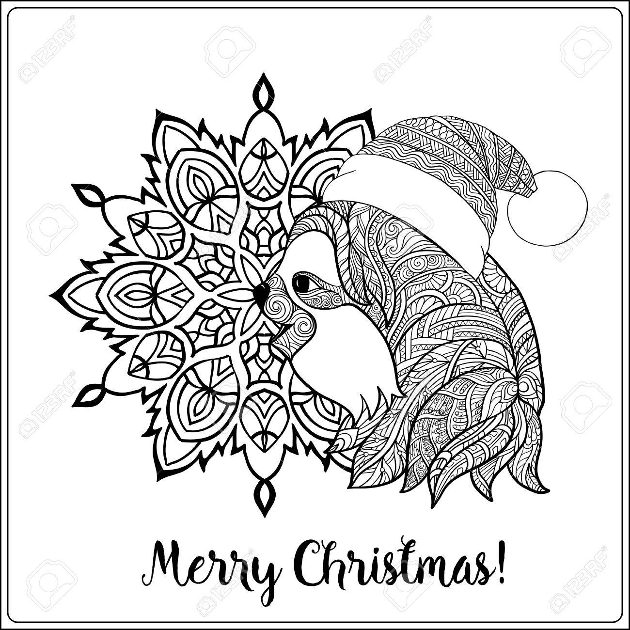1300x1300 Decorative Patterned Sloth In The Hat Of Santa Claus On