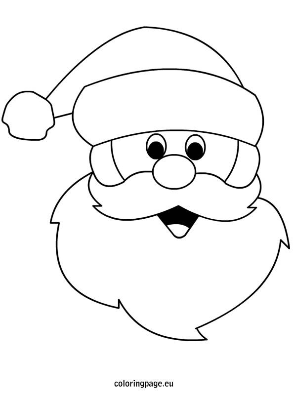 595x804 Line Drawing Santa Claus Template Merry Christmas Amp Happy New