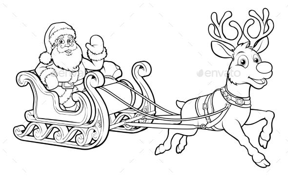 590x362 Santa Claus Christmas Sleigh And Reindeer By Krisdog Graphicriver