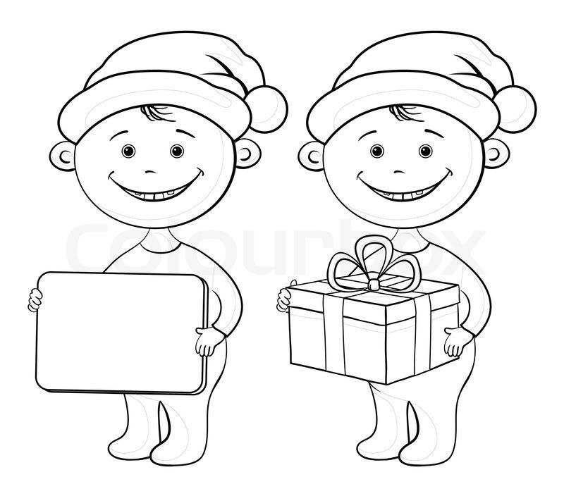 800x704 Children Santa Claus Outline Stock Photo Colourbox