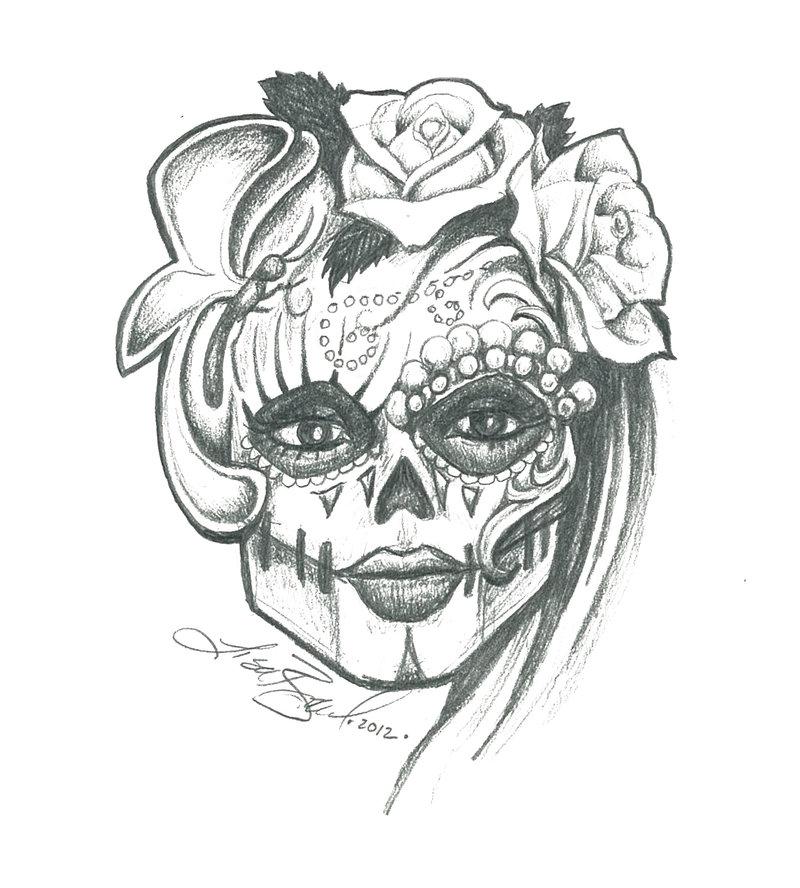 800x888 Sugar Skull Sketch By Leelab