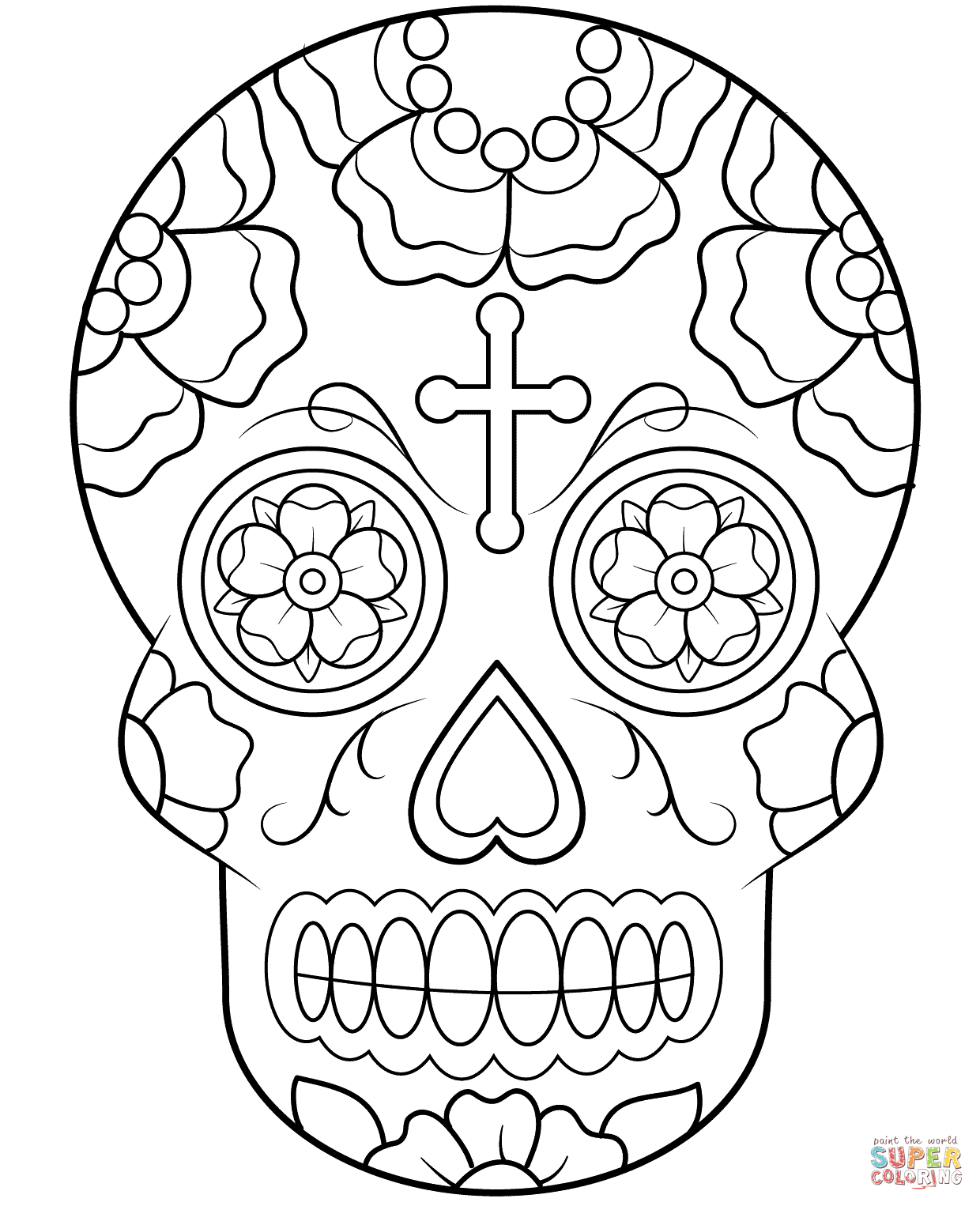 1240x1526 Calavera (Sugar Skull) Coloring Page Free Printable Coloring Pages